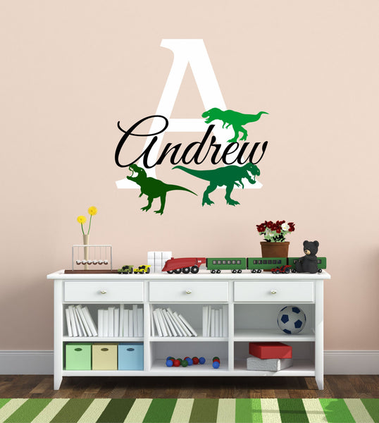 T-rex Design Personalized Custom Name And Initial Vinyl Wall Decal Sticker - Decor Designs Decals - 1