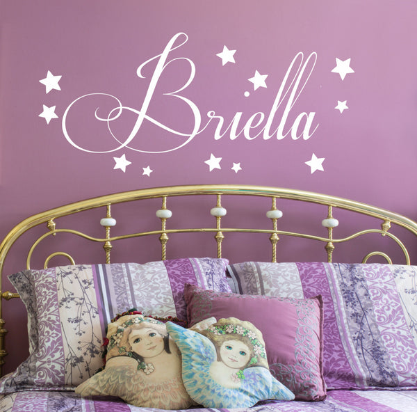 Starry Name Wall Decal - by Decor Design Decal, star decal set, confetti stars, baby nursery wall decor, star decals, wall decal, Girls Name Decals- Girls Name AU9 - Decor Designs Decals - 1