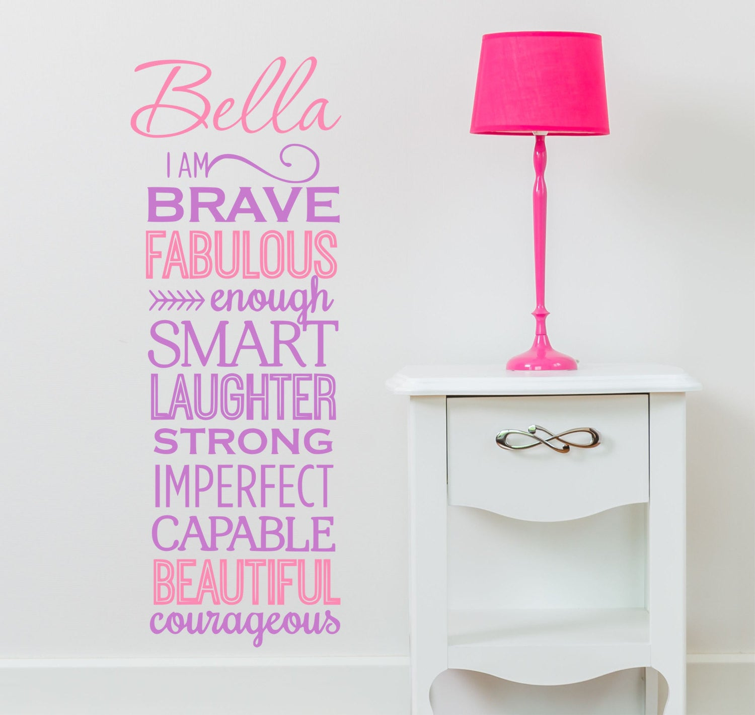 I Am Brave Quote - Girls Wall Decals, Nursery Wall Decal, Girls Vinyl  Decal, Girl Decal -kids Wall Art - Custom Name Decal, Girls Quote Au14