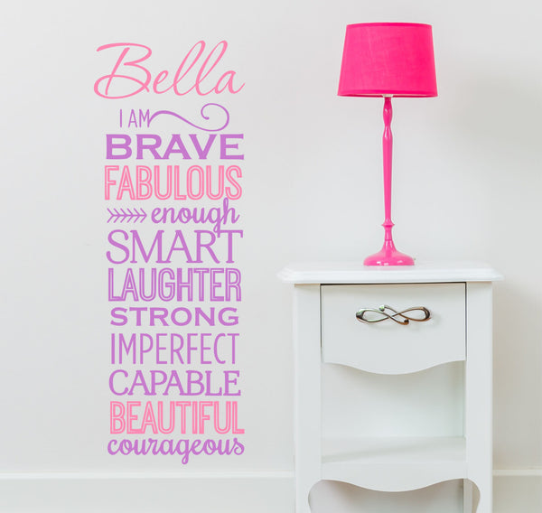 I Am Brave Quote - Girls Wall Decals, Nursery Wall Decal, Girls Vinyl Decal, Girl Decal -kids Wall Art - Custom Name Decal, Girls Quote Au14 - Decor Designs Decals - 1
