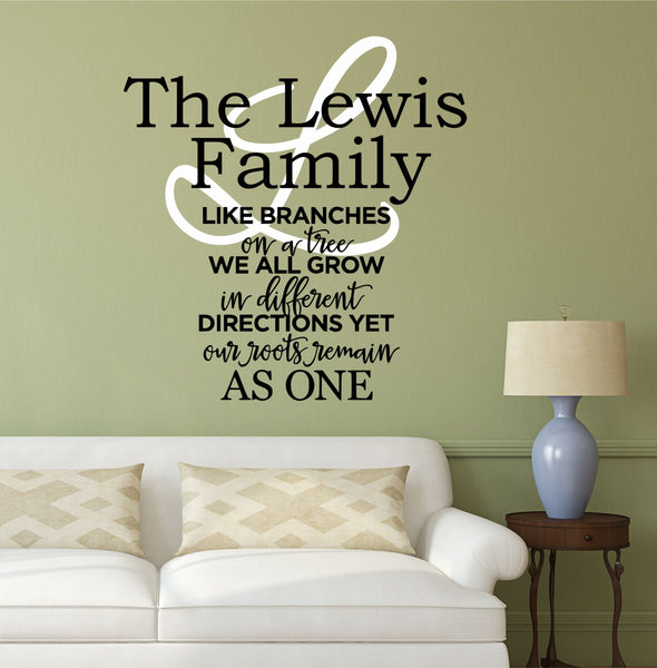 Family Wall Decal Quote- by Decor Designs Decals, Family Like Branches On A Tree- Vinyl Lettering- Bedroom Decor- Family Tree Wall Decal, Inspirational Quote - AU18 - Decor Designs Decals - 1
