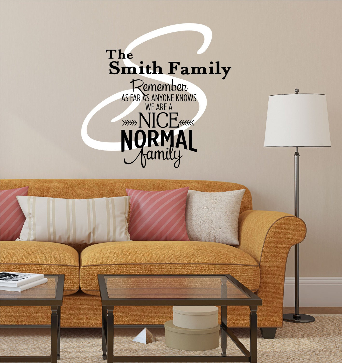 Family Name Decal - by Decor Designs Decals, Nice Normal Family -  Personalized Family Wall