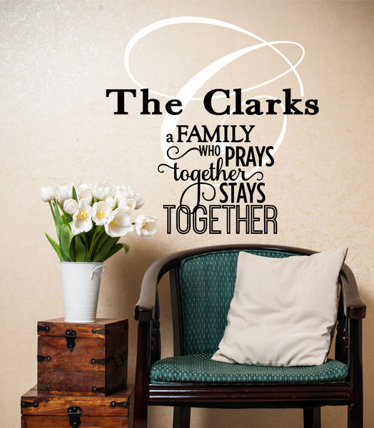 A Family Who Prays Wall Decal - Decor Designs Decals - 1