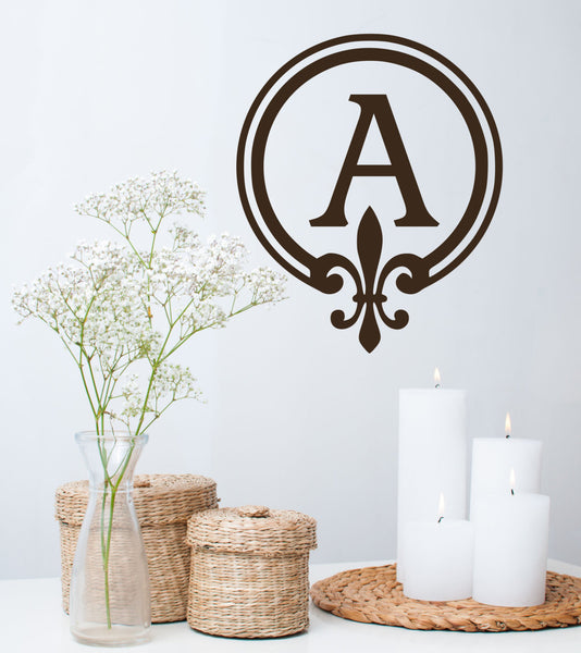 Monogram Wall Decal Personalized Initial - Family Wall Decals Art Home Interior Living Room Or Bedroom - Initial Name - Initial Decal - Au15 - Decor Designs Decals - 1