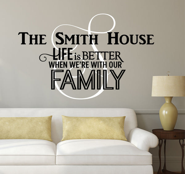 Family Name Monogram Decal - by Decor Designs Decals Personalized Family Name Decal Monogram - & Family Name Wall Decals