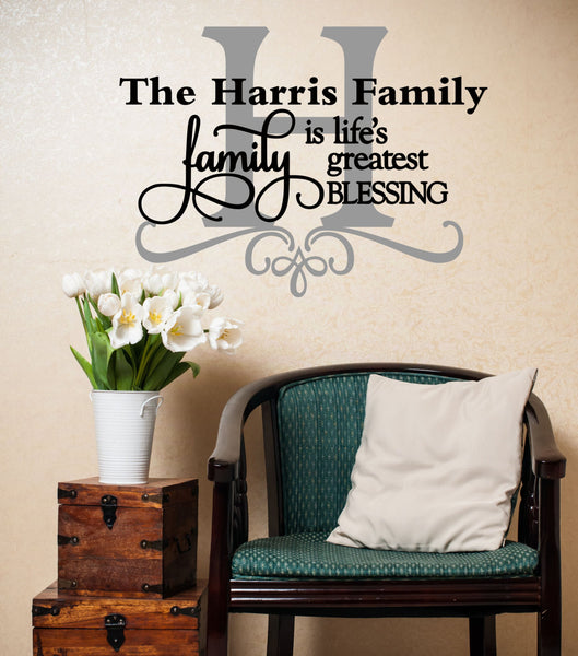Family Is Life's Greatest Blessing Quote Personalized Custom Family Name Vinyl Wall Decal Sticker - Decor Designs Decals - 1