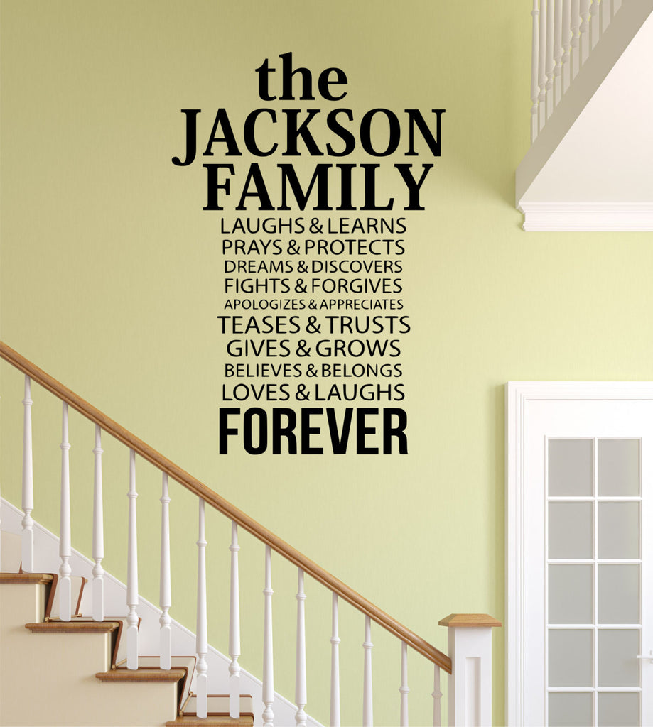 Family Name Decal - by Decor Designs Decals, Laughs and Learns Quote,