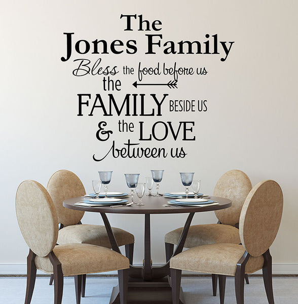 Kitchen Decals - Bless The Food Before Us Wall Decal - by Decor Designs Decals, Kitchen Vinyl Decal - Bless Our Family Decal - Kitchen Quotes - Vinyl Quote - Decals - Decor Designs Decals - 1