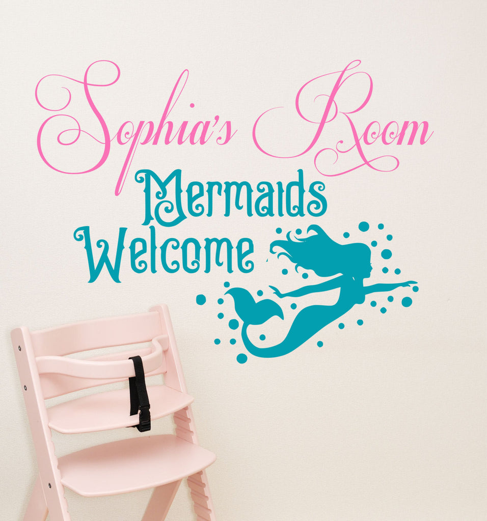 Mermaid Decal, By Decor Designs Decals, Girls Mermaid Decal, Girls Wall  Decal, ...
