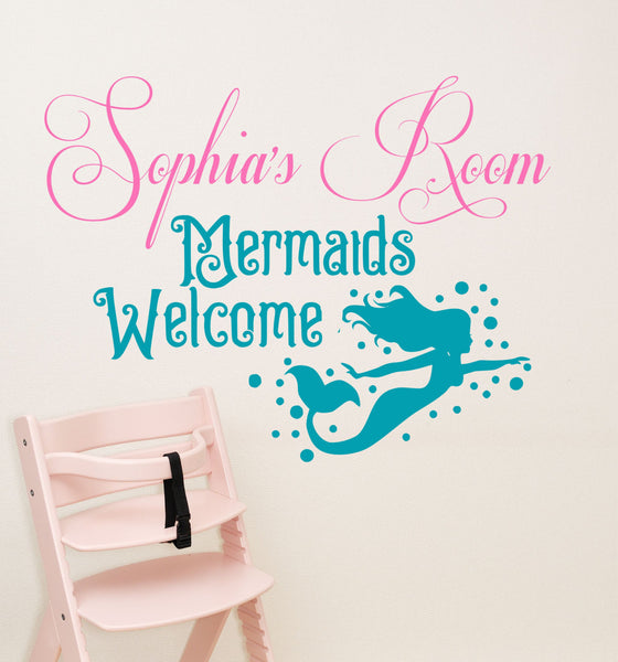 Mermaid decal, by Decor Designs Decals, girls mermaid decal, girls wall decal, girls decals, Mermaids welcome, room sign, decal, starfish, kids wall deals AU20 - Decor Designs Decals - 1