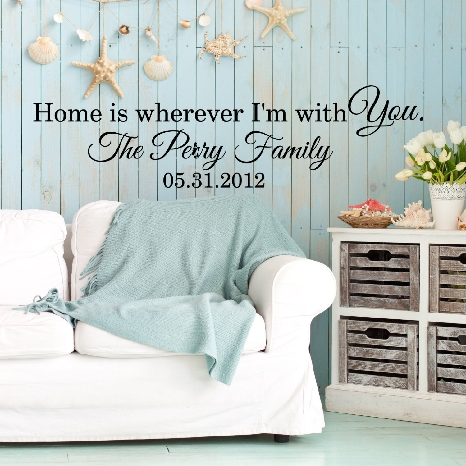 Home Is Wherever Im With You Custom Wall Quote Wall Words Vinyl Wall