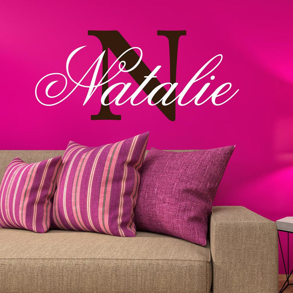 Personalized Custom Name And Initial Vinyl Wall Decal Sticker - Decor Designs Decals - 1