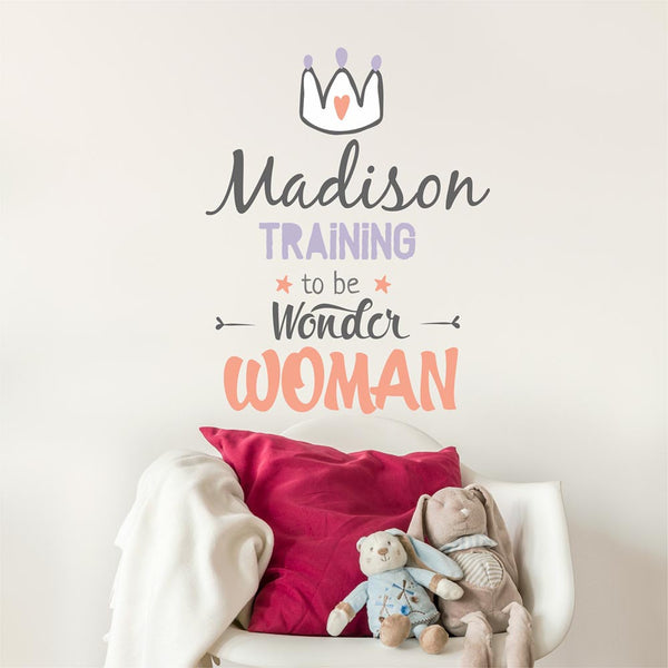 Training To Be Wonder Woman Personalized Custom Name Vinyl Wall Decal Sticker - Decor Designs Decals - 1