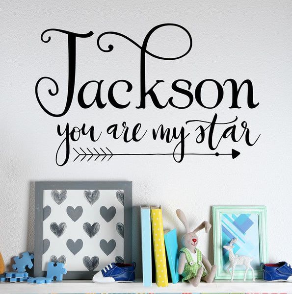 You Are My Star Name Wall Decal - by Decor Designs Decals, Boys Decal Quote Wall Decals Boho Arrows Kids Nursery Vinyl Stickers Home Bedroom Decor boy name CB48 - Decor Designs Decals - 1
