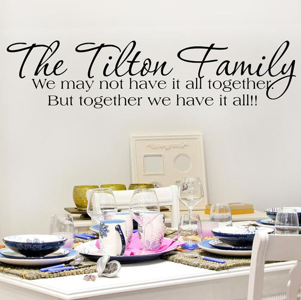 The Tilton Family Personalized Custom Quote Vinyl Wall Decal Sticker - Decor Designs Decals - 1