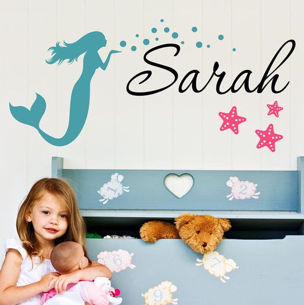 Sarah Mermaid Personalized Custom Name Vinyl Wall Decal Sticker - Decor Designs Decals - 1