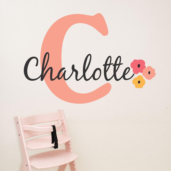 Initial And Name With Flowers Personalized Custom Name Vinyl Wall Decal Sticker - Decor Designs Decals - 1