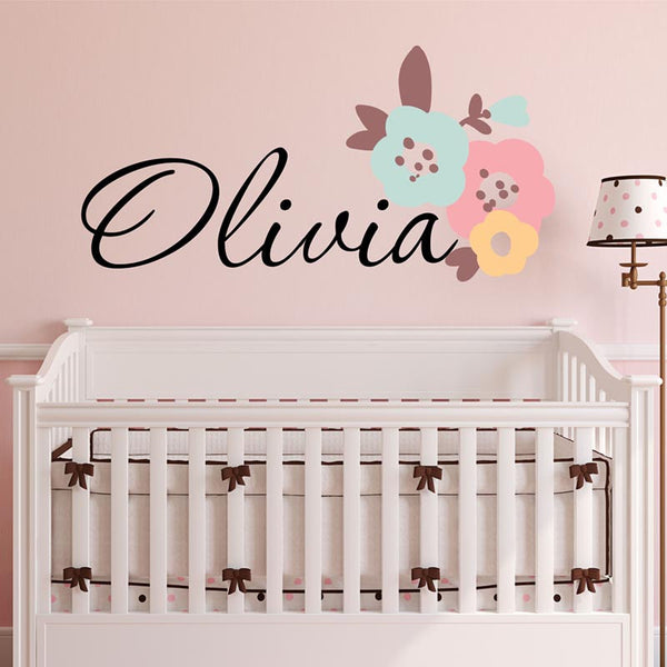 Olivia Flower Personalized Custom Name Vinyl Wall Decal Sticker - Decor Designs Decals - 1