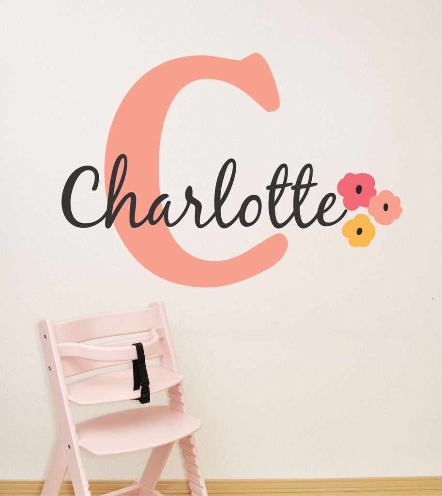 Peach flower girls name wall decal by decor designs decals flowers w peach flower girls name wall decal by decor designs decals flowers wall decal amipublicfo Choice Image