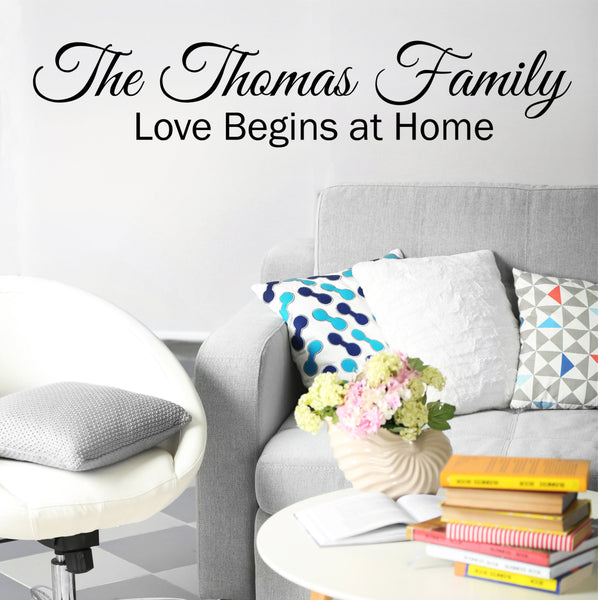 Love Begins At Home Wall Decal- by Decor Designs Decals, Wall Decals Quotes - Love Wall Decal, Vinyl Sticker Bedroom name Wall Decals Wall Mural Family Art Name- CB3 - Decor Designs Decals - 1