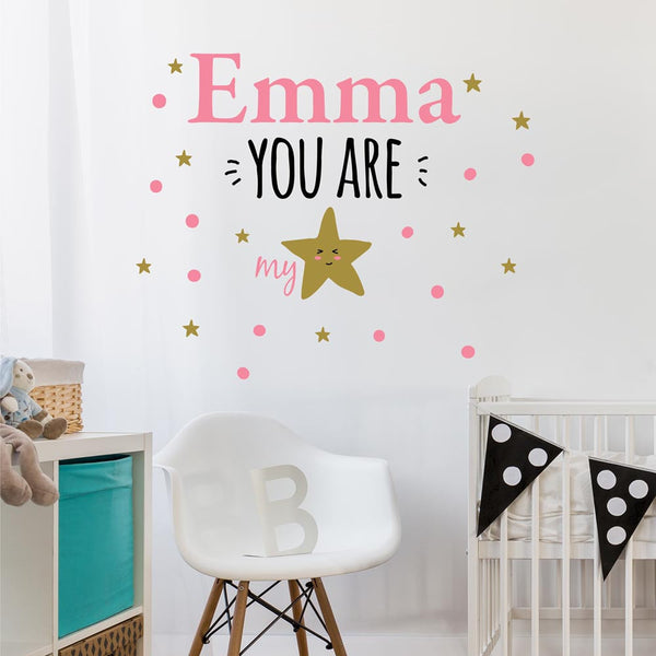 You Are My Star Personalized Custom Vinyl Wall Decal Sticker - Decor Designs Decals - 1