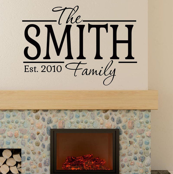 The Smith Family Personalized Custom Name Vinyl Wall Decal Sticker - Decor Designs Decals - 1