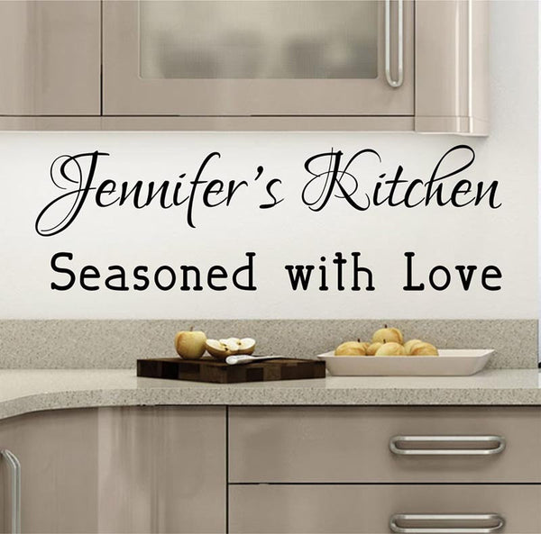 Kitchen Decals - Personalized Kitchen Decal - by Decor Designs Decals, Seasoned with Love - Name Decal - Kitchen Quotes - Vinyl Quote - Decals - Kitchen Decal- B29 - Decor Designs Decals - 1
