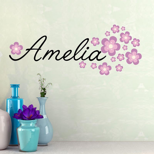 Fancy Name wall decal - by Decor Designs Decals, baby girl personalized vinyl name includes flowers - name wall decal - script style wall name decal - flowers B2 - Decor Designs Decals - 1