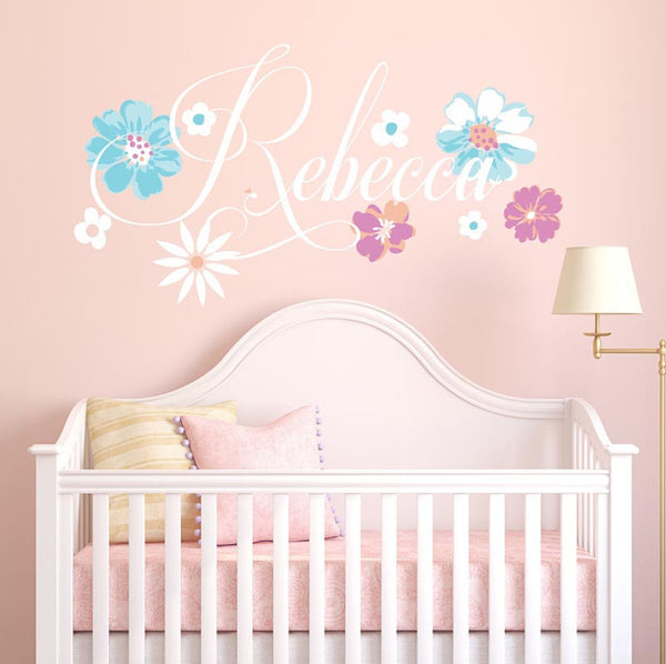 Rebecca Flower Personalized Custom Name Vinyl Wall Decal Sticker - Decor Designs Decals - 1