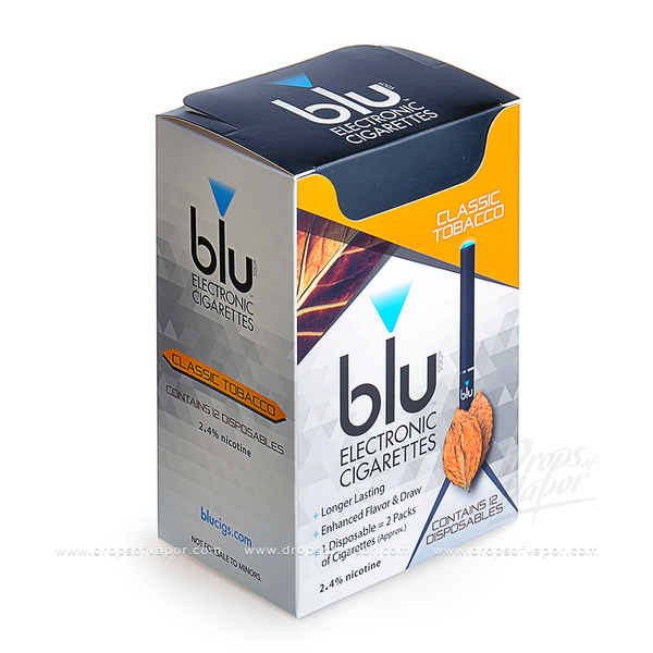 blu - blu eCIGS 2.4% nicotine Classic Tobacco Box of 12 - Drops of Vapor