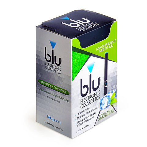blu blu eCIGS 2.4% nicotine Magnificent Menthol Box of 12 - Drops of Vapor - 1
