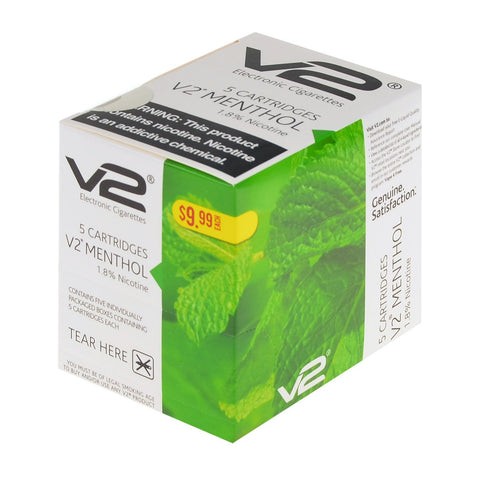 v2 - V2 Menthol 1.8% Nicotine 5 Pack E-Cig Flavor Cartridges - Drops of Vapor