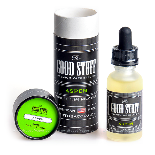 The Good Stuff - Aspen Premium Vapor eLiquid - Drops of Vapor