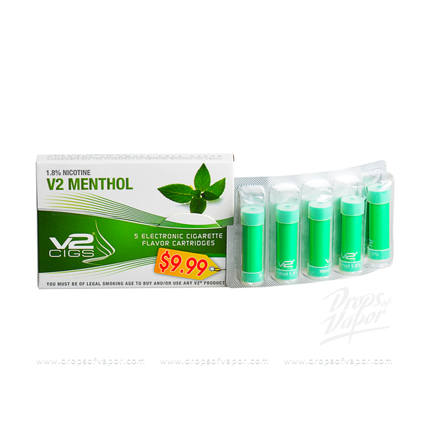 v2 - V2 Menthol 1.8% Nicotine 5 E-Cig Flavor Cartridge - Drops of Vapor