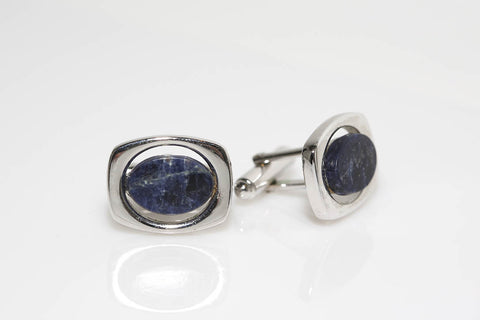 Silver and Blue Cufflinks
