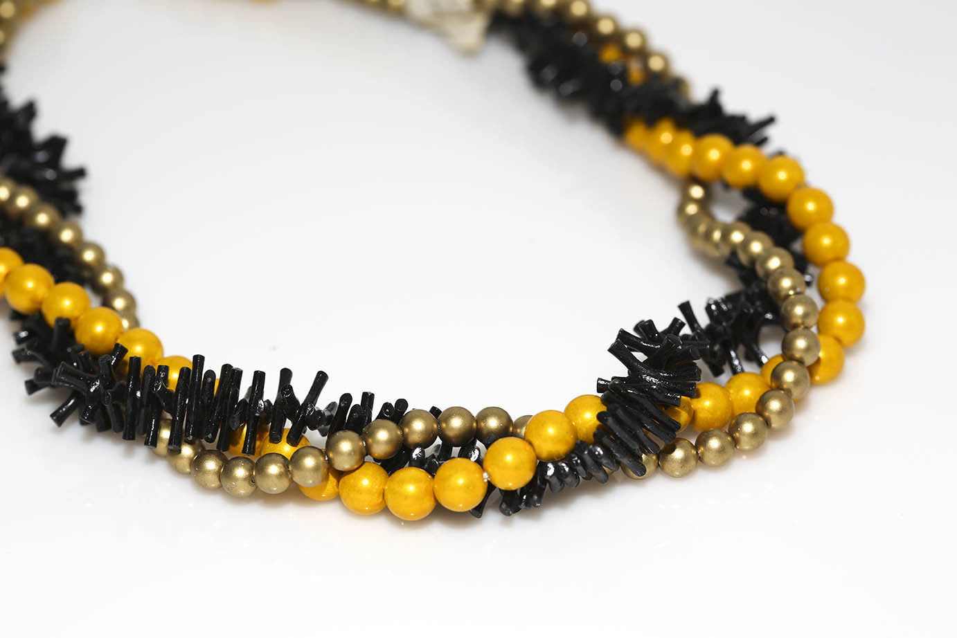 Triple Strand Black Yellow Gold Necklace