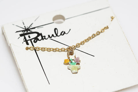 Pakula Flower Necklace in Yellow & Purple