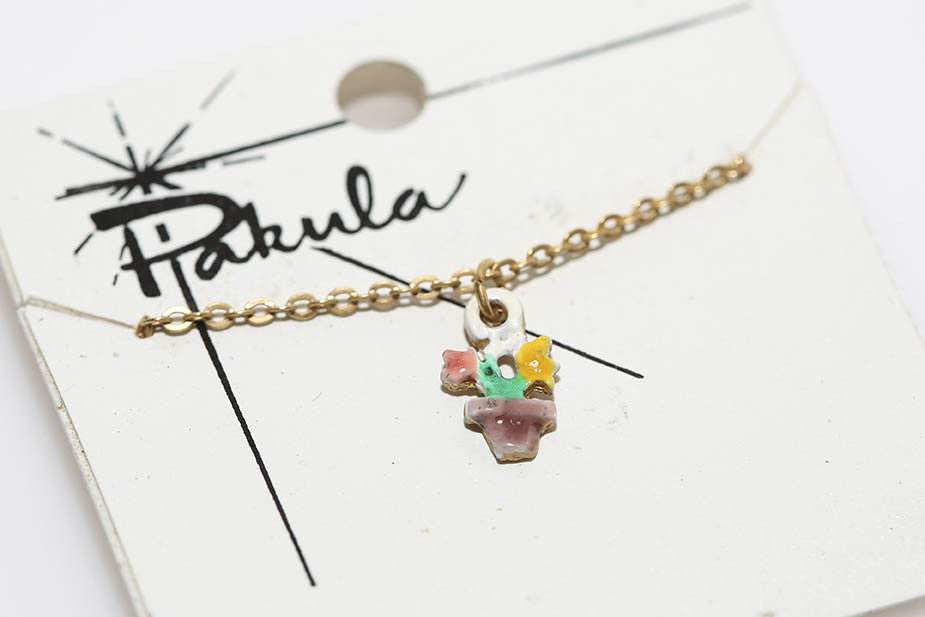 Pakula Flower Necklace in Yellow & Pink