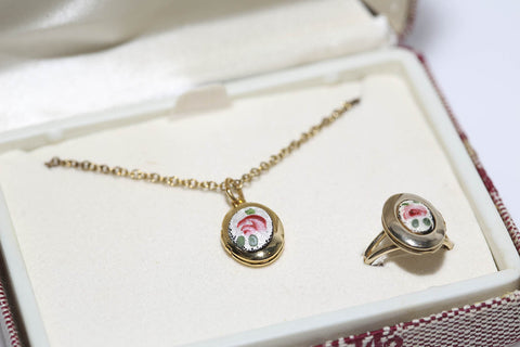 Guilloche Locket Set