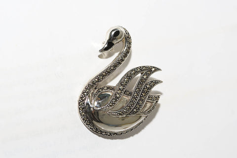 Marcasite Swan Pin in Silver