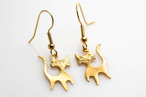 Mod Cat Earrings in Gold