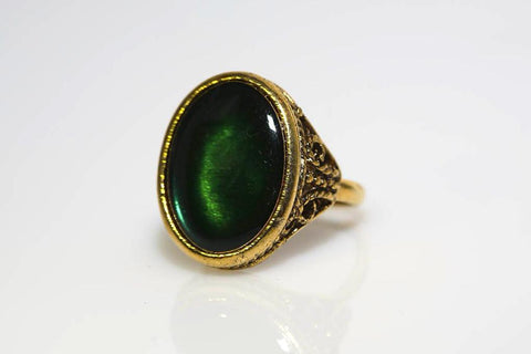 Gold Resin Ring in Green