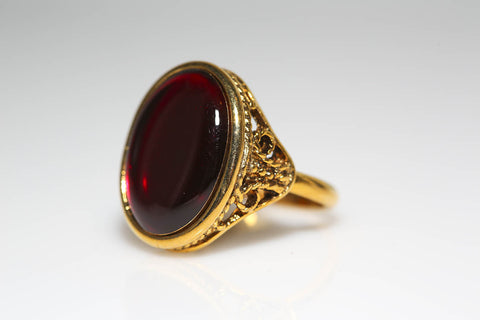 Gold Resin Ring in Red