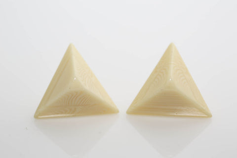 Ivory Lucite Pyramid Earrings