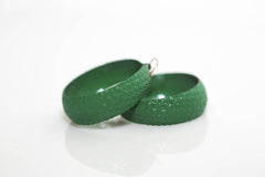 Green Metal Basket-Weave Hoops