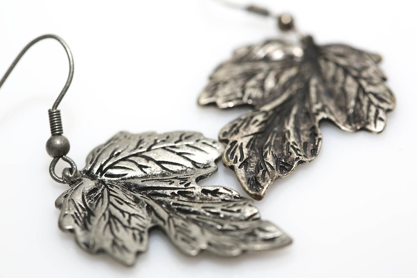 Etched Metal Leaf Earrings