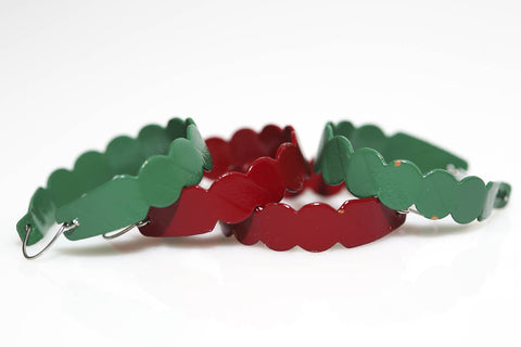 Scalloped Hoops in Red and Green