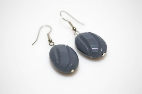Gray Faceted Twist Earrings