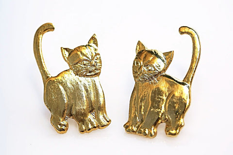 Gold Kitten Earrings