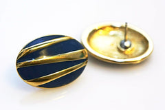 Gold Blue Oval Earring